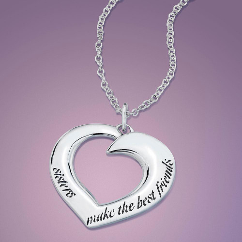Sisters Make The Best Friends Sterling Silver Necklace - Inspirational Jewelry Photo