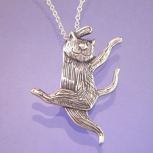 Dancing Cat Sterling Silver Necklace - Inspirational Jewelry Photo