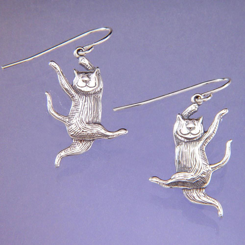 Dancing Cat Sterling Silver Earrings - Inspirational Jewelry Photo