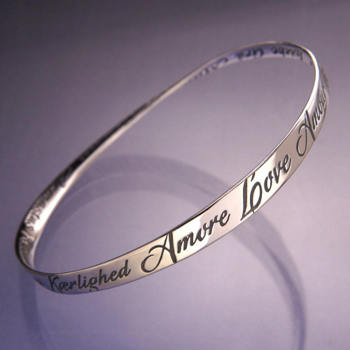Love In Twenty Eight Languages Sterling Silver Bracelet - Inspirational Jewelry Photo