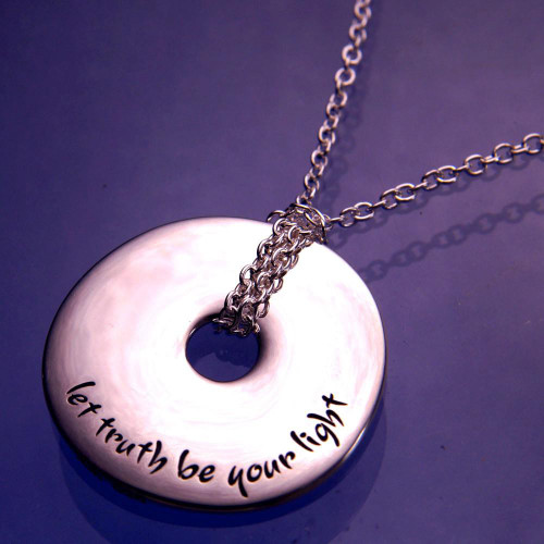 Let Truth Be Your Light Sterling Silver Necklace - Inspirational Jewelry Photo