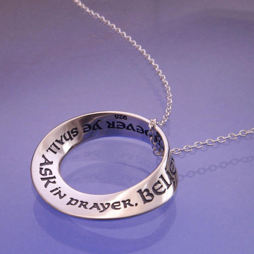 Believing Ye Shall Receive Sterling Silver Necklace - Inspirational Jewelry Photo