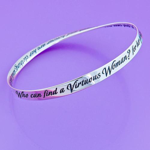 Strength & Honour Sterling Silver Bracelet - Inspirational Jewelry Photo