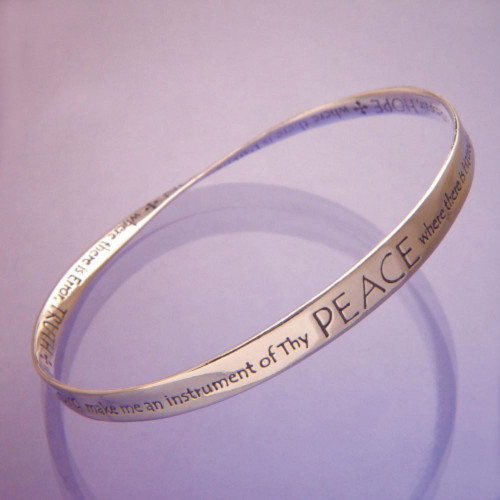 St. Francis' Prayer Peace Sterling Silver Bracelet - Inspirational Jewelry Photo