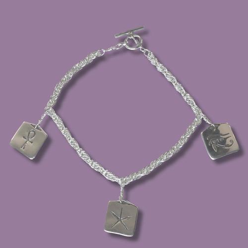 Egyptian Amulets Sterling Silver Bracelet - Inspirational Jewelry Photo