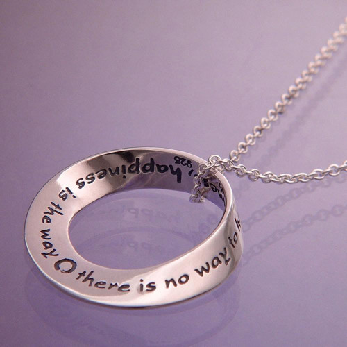 Happiness Is The Way Sterling Silver Necklace - Inspirational Jewelry Photo