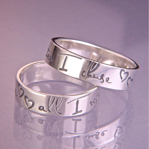 English: Thee I Chuse Modern Sterling Silver Ring - Inspirational Jewelry Photo
