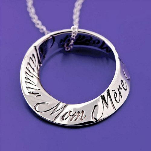 Mom In 10 Languages Sterling Silver Necklace - Inspirational Jewelry Photo