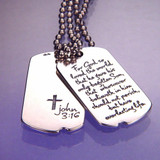Everlasting Life Sterling Silver Dog Tag - Inspirational Jewelry Photo