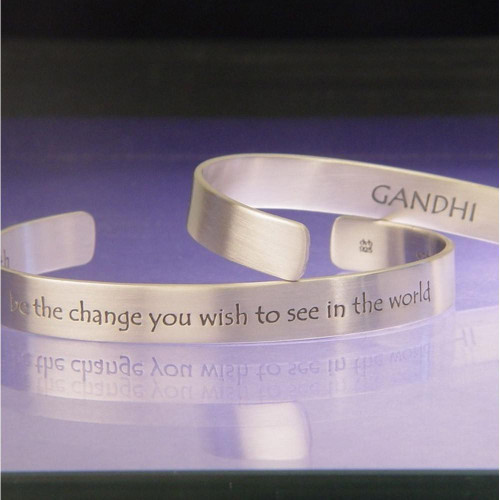 Be The Change Sterling Silver Cuff - Inspirational Jewelry Photo