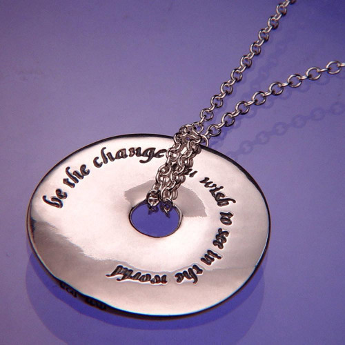 Be The Change Sterling Silver Necklace - Inspirational Jewelry Photo