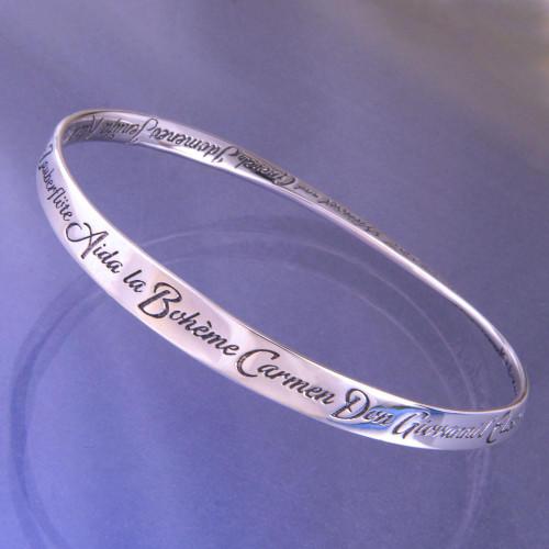 A-Z Of Operas Sterling Silver Bracelet - Inspirational Jewelry Photo