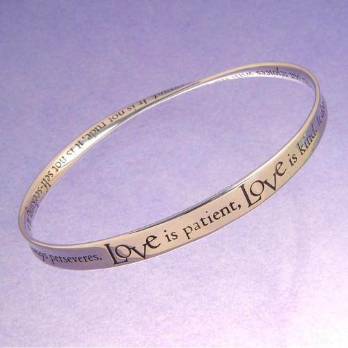 Love Is Patient Sterling Silver Bracelet - Inspirational Jewelry Photo