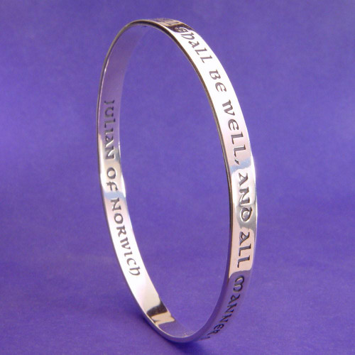 All Shall Be Well Sterling Silver Bangle - Inspirational Jewelry Photo