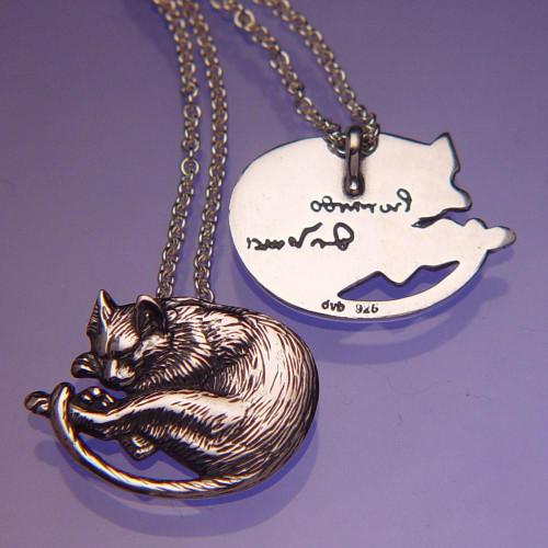 Da Vinci's Cat Sterling Silver Necklace - Inspirational Jewelry Photo