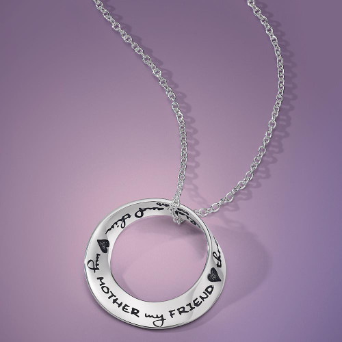 My Mother My Friend Through Thick And Thin Sterling Silver Necklace - Inspirational Jewelry Photo