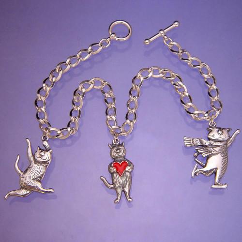 Cat Charms Sterling Silver Bracelet - Inspirational Jewelry Photo