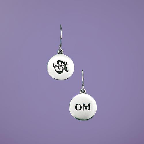 Petite Om Sterling Silver Earrings - Inspirational Jewelry Photo