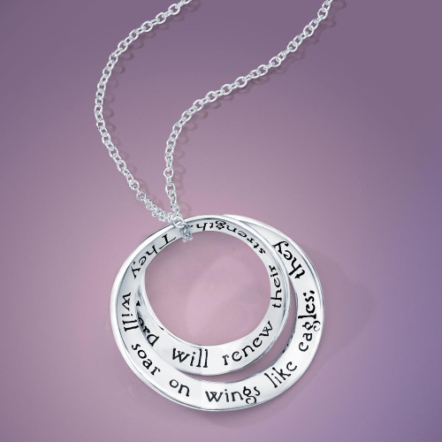 Soar On Wings Like Eagles Sterling Silver Necklace - Inspirational Jewelry Photo