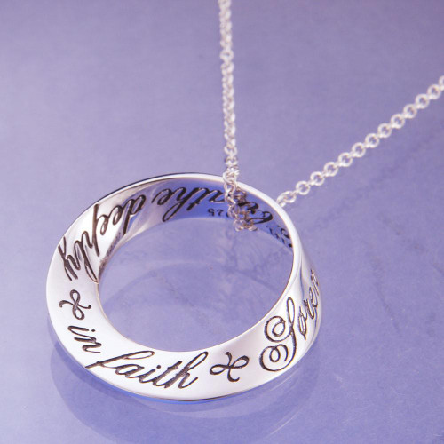 Breath Deeply In Faith Sterling Silver Necklace - Inspirational Jewelry Photo