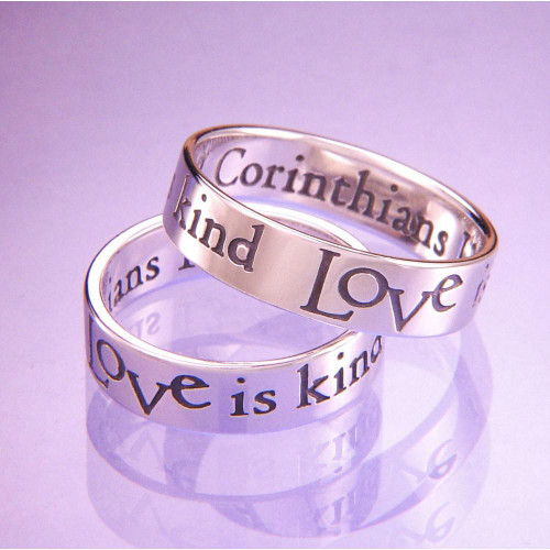 English: Love Is Patient Sterling Silver Ring - Inspirational Jewelry Photo