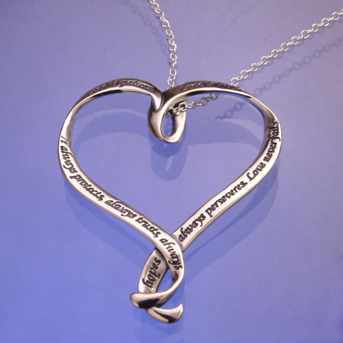 Love Is Patient Heart Sterling Silver Necklace - Inspirational Jewelry Photo