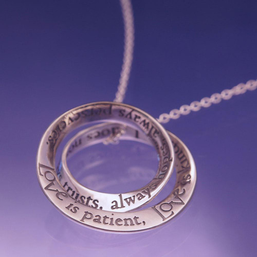 Love Is Patient Sterling Silver Necklace - Inspirational Jewelry Photo