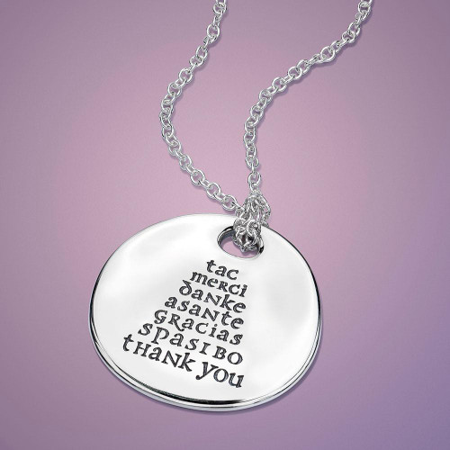 Thank You Sterling Silver Necklace - Inspirational Jewelry Photo