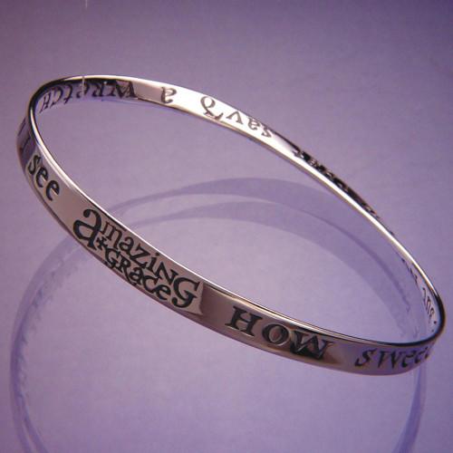 Amazing Grace Sterling Silver Bracelet - Inspirational Jewelry Photo