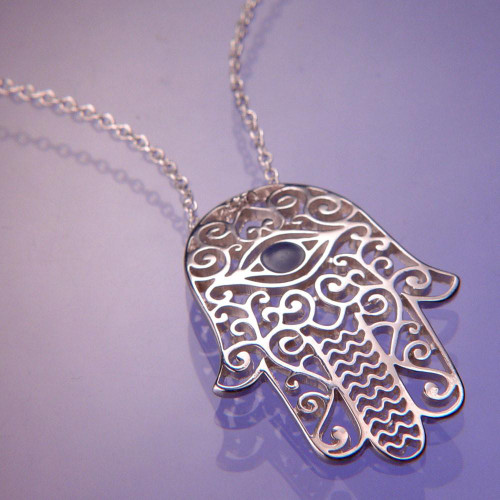 Hamsa Sterling Silver Necklace - Inspirational Jewelry Photo