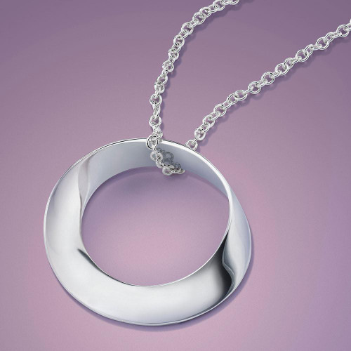 Pure Mobius Sterling Silver Necklace - Inspirational Jewelry Photo