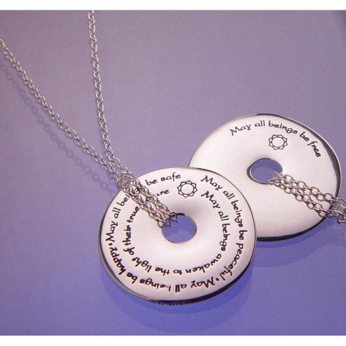Metta Prayer Sterling Silver Necklace - Inspirational Jewelry Photo