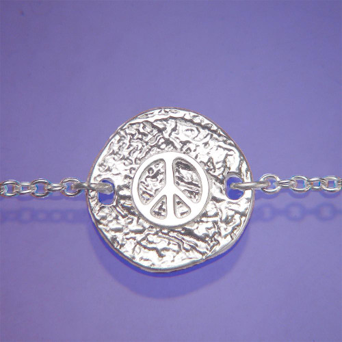 Peace Symbol Sterling Silver Bracelet - Inspirational Jewelry Photo