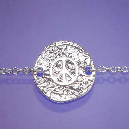 Peace Symbol Sterling Silver Bracelet - Inspirational Jewelry Photo