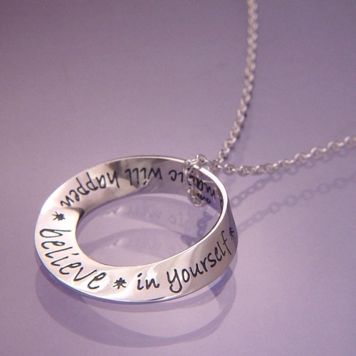 Believe In Yourself Mobius Sterling Silver Necklace - Inspirational Jewelry Photo