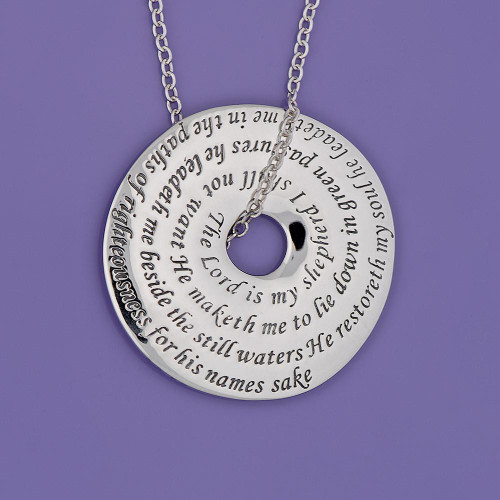 23rd Psalm Sterling Silver Necklace - Inspirational Jewelry Photo
