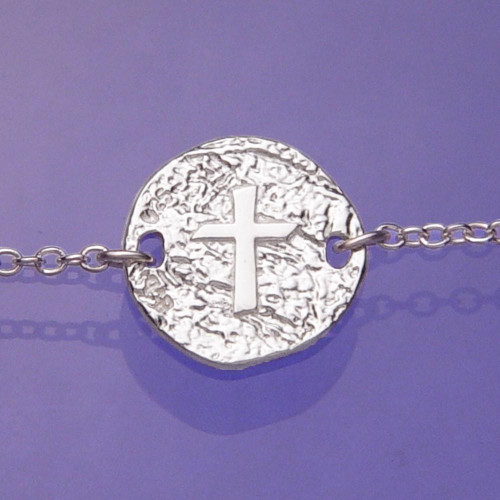 Cross Symbol Sterling Silver Bracelet - Inspirational Jewelry Photo