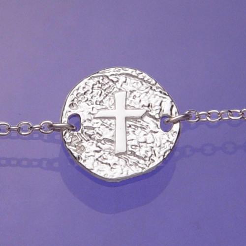 Cross Symbol Sterling Silver Bracelet - Inspirational Jewelry Photo