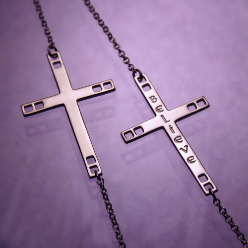 Horizontal Cross Sterling Silver Necklace - Inspirational Jewelry Photo