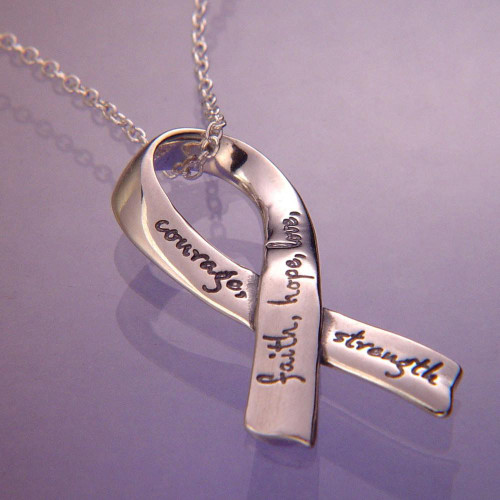 Affirmation Ribbon Sterling Silver Necklace - Inspirational Jewelry Photo