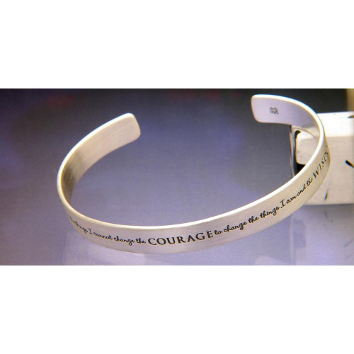 Serenity Prayer Sterling Silver Cuff - Inspirational Jewelry Photo