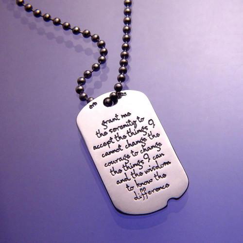 Serenity Prayer Sterling Silver Dog Tag - Inspirational Jewelry Photo