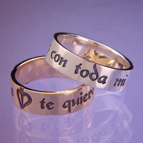 Spanish: With All My Soul Sterling Silver Ring - Inspirational Jewelry Photo