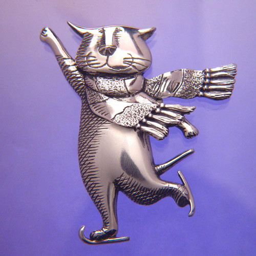 Skating Cat Sterling Silver Pin - Inspirational Jewelry Photo