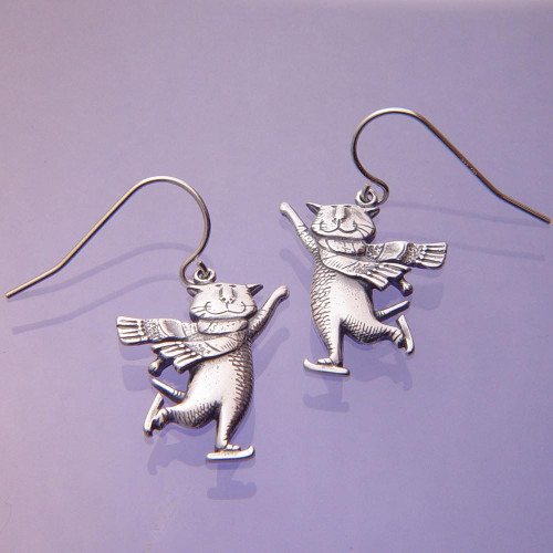 Skating Cat Sterling Silver Earrings - Inspirational Jewelry Photo