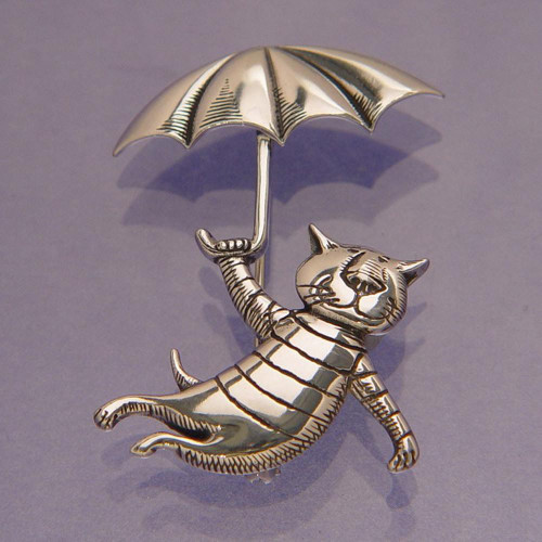 Umbrella Cat Sterling Silver Pin - Inspirational Jewelry Photo