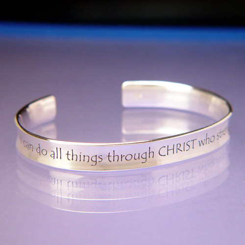 I Can Do All Things Sterling Silver Cuff - Inspirational Jewelry Photo