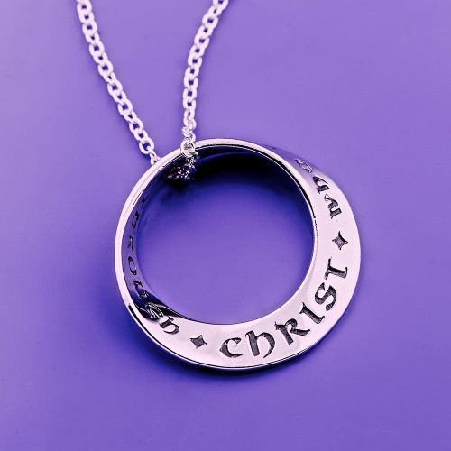 I Can Do All Things Mobius Sterling Silver Necklace - Inspirational Jewelry Photo