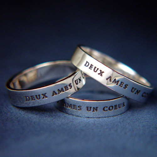 French: Two Souls, One Heart Sterling Silver Ring - Inspirational Jewelry Photo