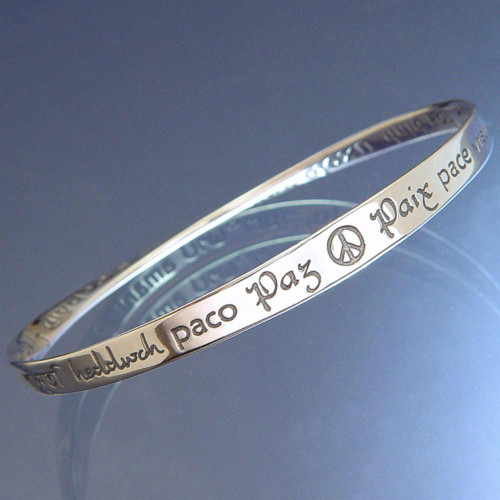 Peace In Forty Languages Sterling Silver Bracelet - Inspirational Jewelry Photo